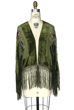 The 1930's Silk Velvet Burnout Bolero Jacket - English Bouquet - Olive Green