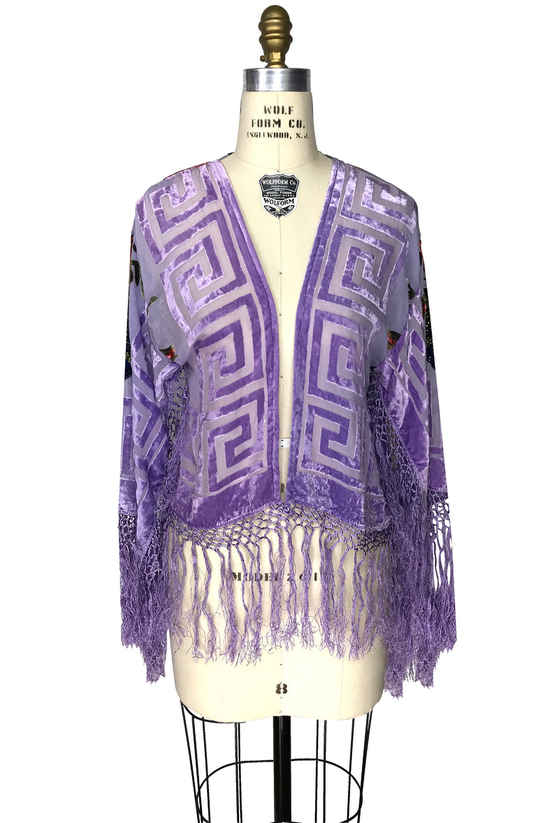 The 1930's Silk Velvet Burnout Bolero Jacket - Longevity Rose - Lavender - The Deco Haus
