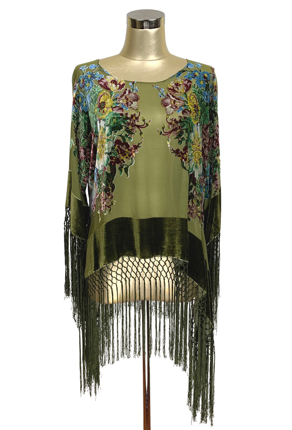 The 1930's Silk Velvet Burnout Kimono Top - English Bouquet - Olive Green