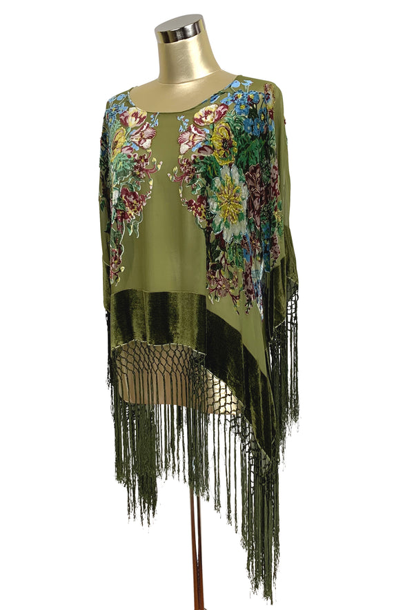 The 1930's Silk Velvet Burnout Kimono Top - English Bouquet - Olive Green - The Deco Haus