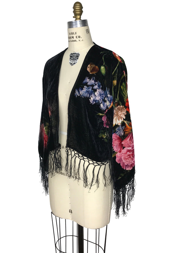The 1930's Silk Velvet Fringe Bolero Jacket - Dutch Floral - Black