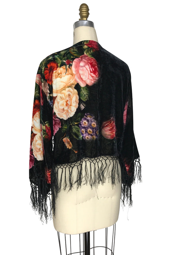 The 1930's Silk Velvet Fringe Bolero Jacket - Dutch Floral - Black - The Deco Haus