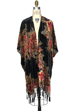 The Art Deco Fire Floral Silk Velvet Burnout Beaded Evening Wrap - Black - The Deco Haus