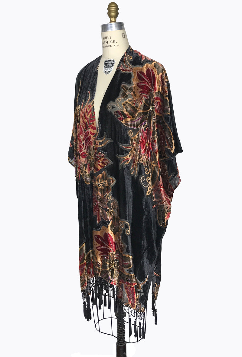 The Art Deco Fire Floral Silk Velvet Burnout Beaded Evening Wrap - Black