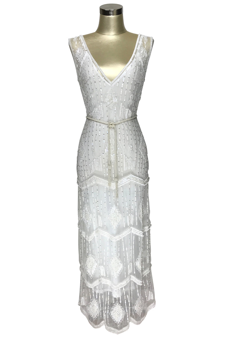 The Art Deco Hand Beaded Vintage 1920s Maxi Swank Gown - Antique White