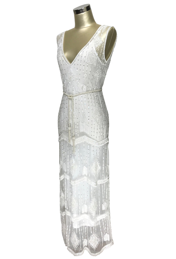 The Art Deco Hand Beaded Vintage 1920s Maxi Swank Gown - Antique White - The Deco Haus