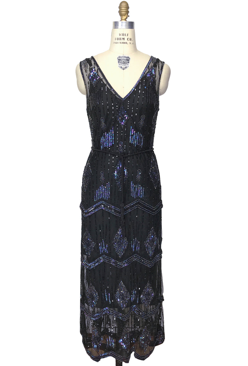 The Art Deco Hand Beaded Vintage 1920s Maxi Swank Gown - Black Iridescent