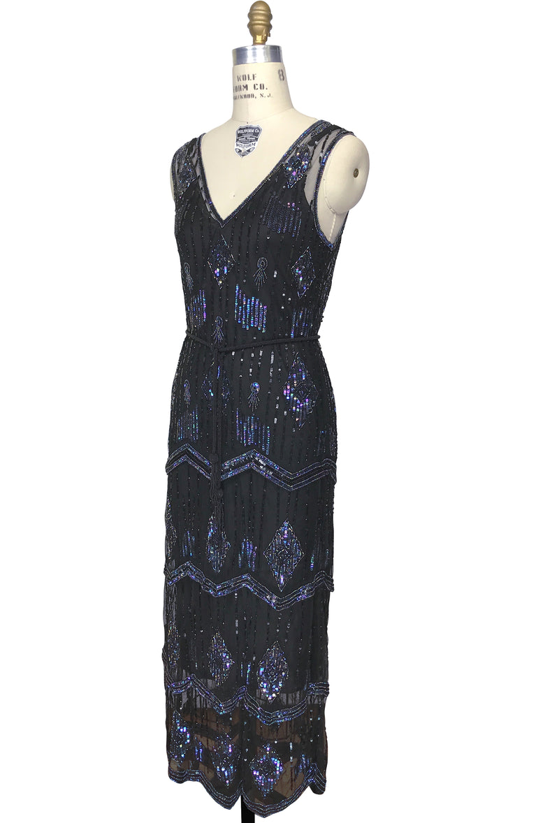 The Art Deco Hand Beaded Vintage 1920s Maxi Swank Gown - Black Iridescent - The Deco Haus