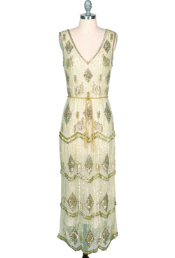 Flapper Costume: How to Dress Like a 20s Flapper Girl THE ART DECO HAND BEADED VINTAGE 1920S MAXI SWANK GOWN - ABSINTHE GREEN $349.95 AT vintagedancer.com