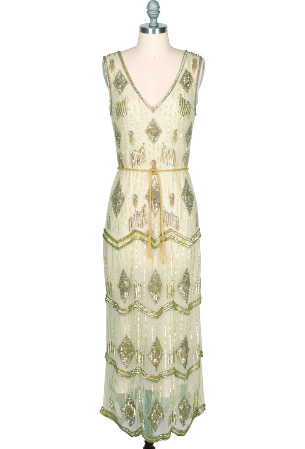 The Art Deco Hand Beaded Vintage 1920s Maxi Swank Gown - Absinthe Green - The Deco Haus