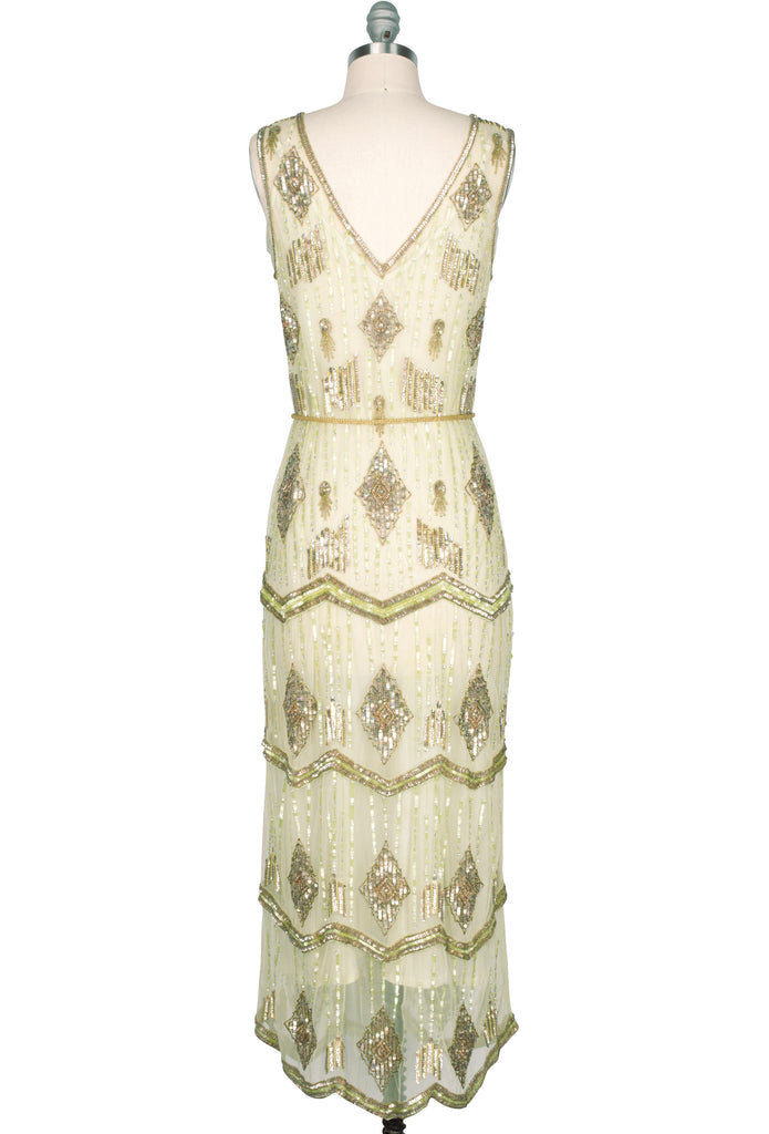 Vintage Inspired Bridesmaid Dresses, Mothers Dresses The Art Deco Hand Beaded Vintage 1920s Maxi Swank Gown - Absinthe Green $429.95 AT vintagedancer.com