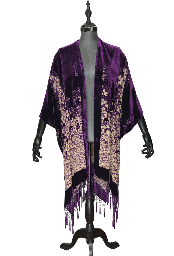 The Art Deco Mini Floral Silk Velvet Burnout Beaded Evening Wrap - Amethyst Purple