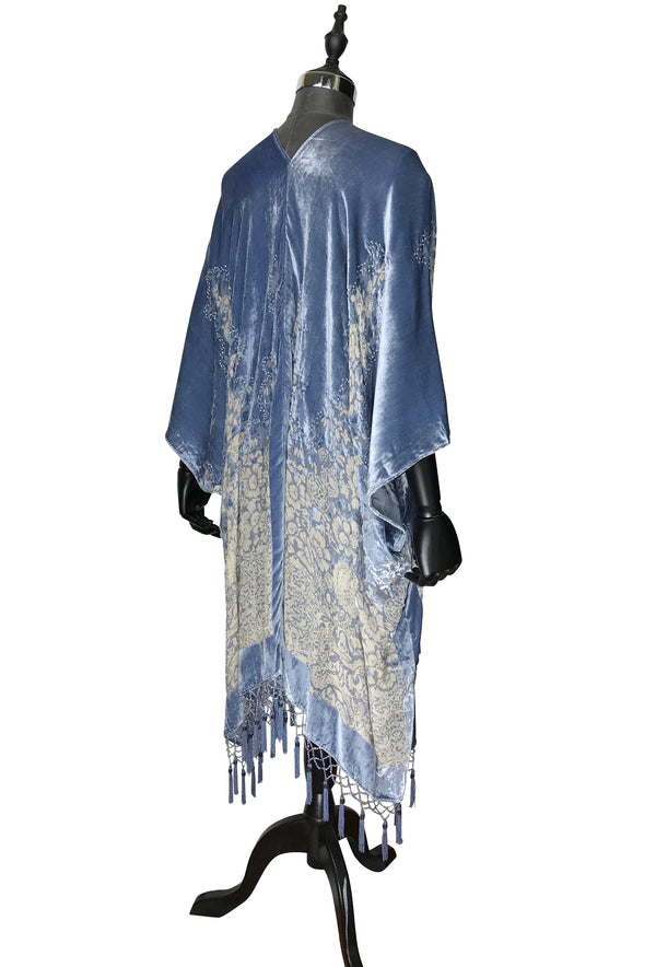 The Art Deco Mini Floral Silk Velvet Burnout Beaded Evening Wrap - Antique Blue