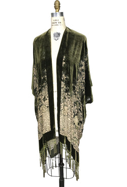The Art Deco Mini Floral Silk Velvet Burnout Beaded Evening Wrap - Olive Green