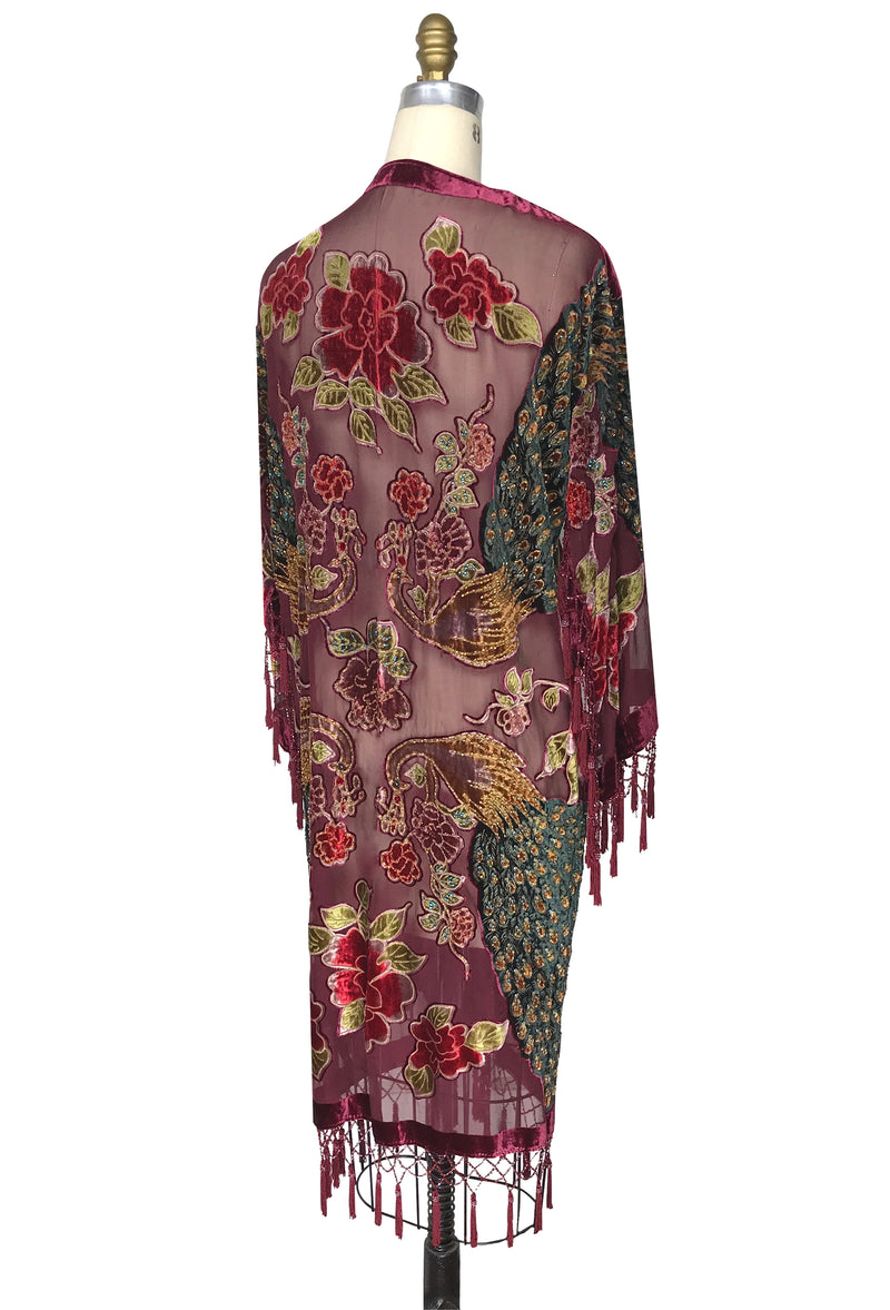 The Art Deco Peacock Burnout Velvet Beaded Evening Kimono Jacket - A Star is Born - Burgundy Red