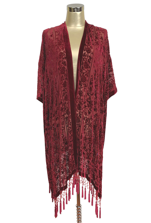 The Art Deco Renaissance Floral Silk Velvet Burnout Beaded Evening Wrap - Scarlet Red - The Deco Haus