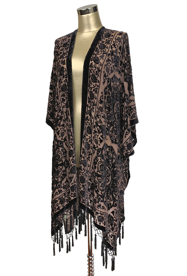 The Art Deco Renaissance Floral Silk Velvet Burnout Beaded Evening Wrap - Espresso