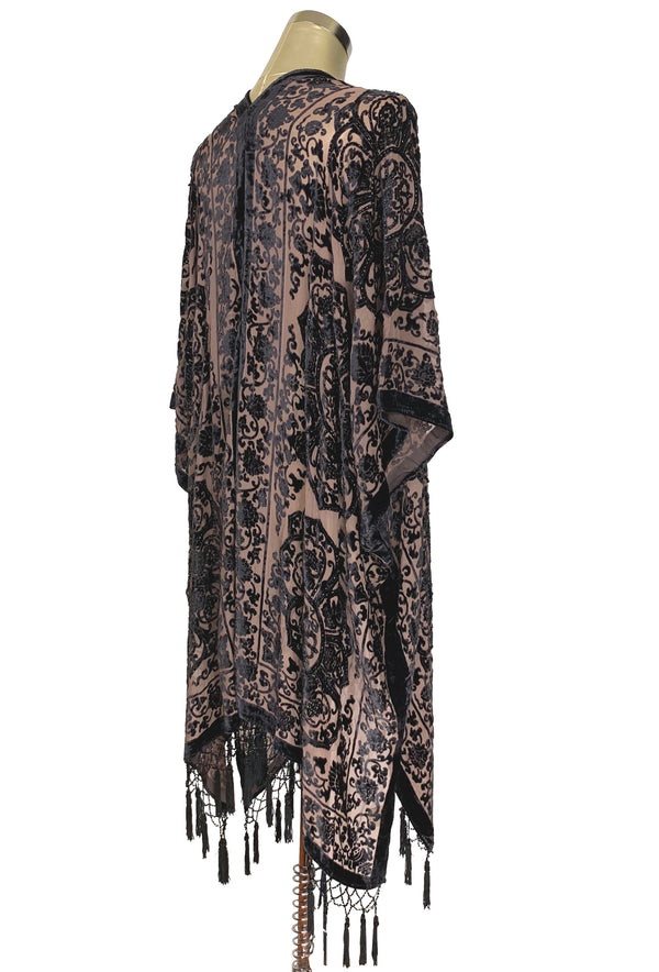 The Art Deco Renaissance Floral Silk Velvet Burnout Beaded Evening Wrap - Espresso - The Deco Haus
