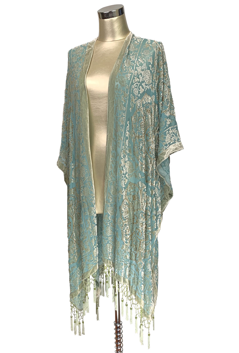 The Art Deco Renaissance Floral Silk Velvet Burnout Beaded Evening Wrap - Pale Turquoise