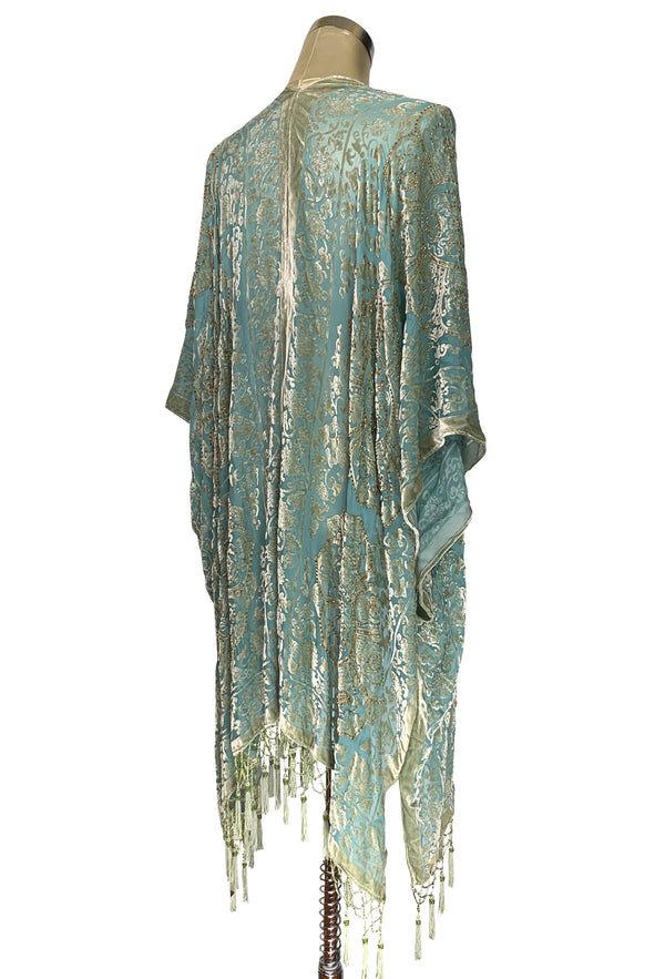 The Art Deco Renaissance Floral Silk Velvet Burnout Beaded Evening Wrap - Pale Turquoise - The Deco Haus