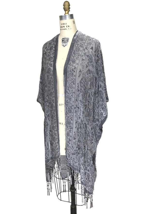 The Art Deco Renaissance Floral Silk Velvet Burnout Beaded Evening Wrap - Platinum - The Deco Haus
