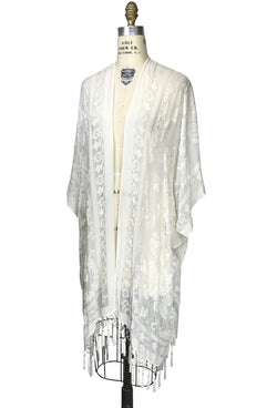 The Victorian Rose Burnout Silk Velvet Fringe 20s Evening Wrap - White