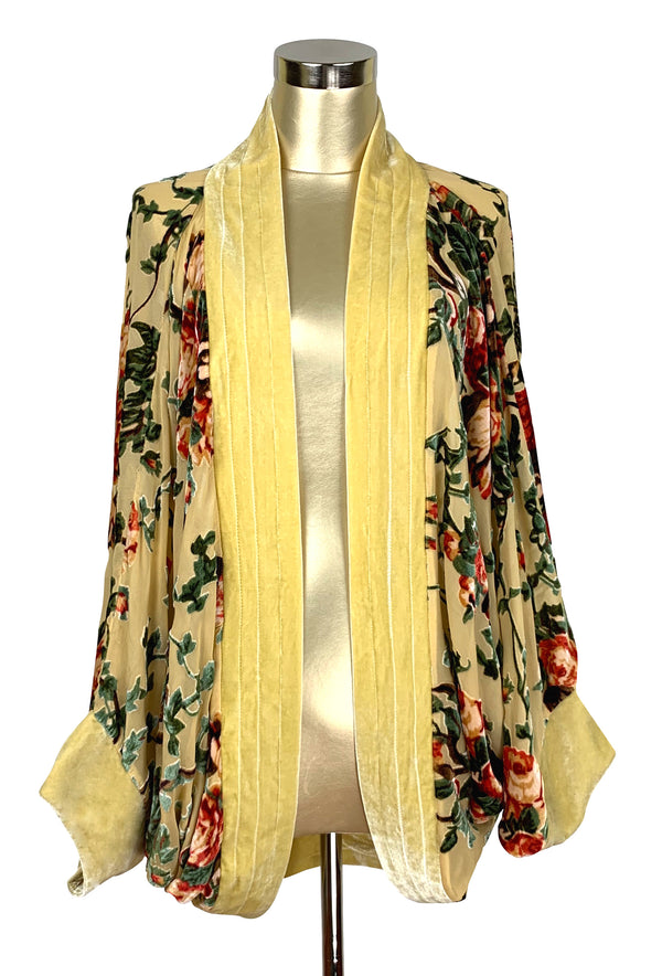 The Art Deco Silk Velvet Burnout Cocoon 1920s Smoking Jacket - Yellow Rose