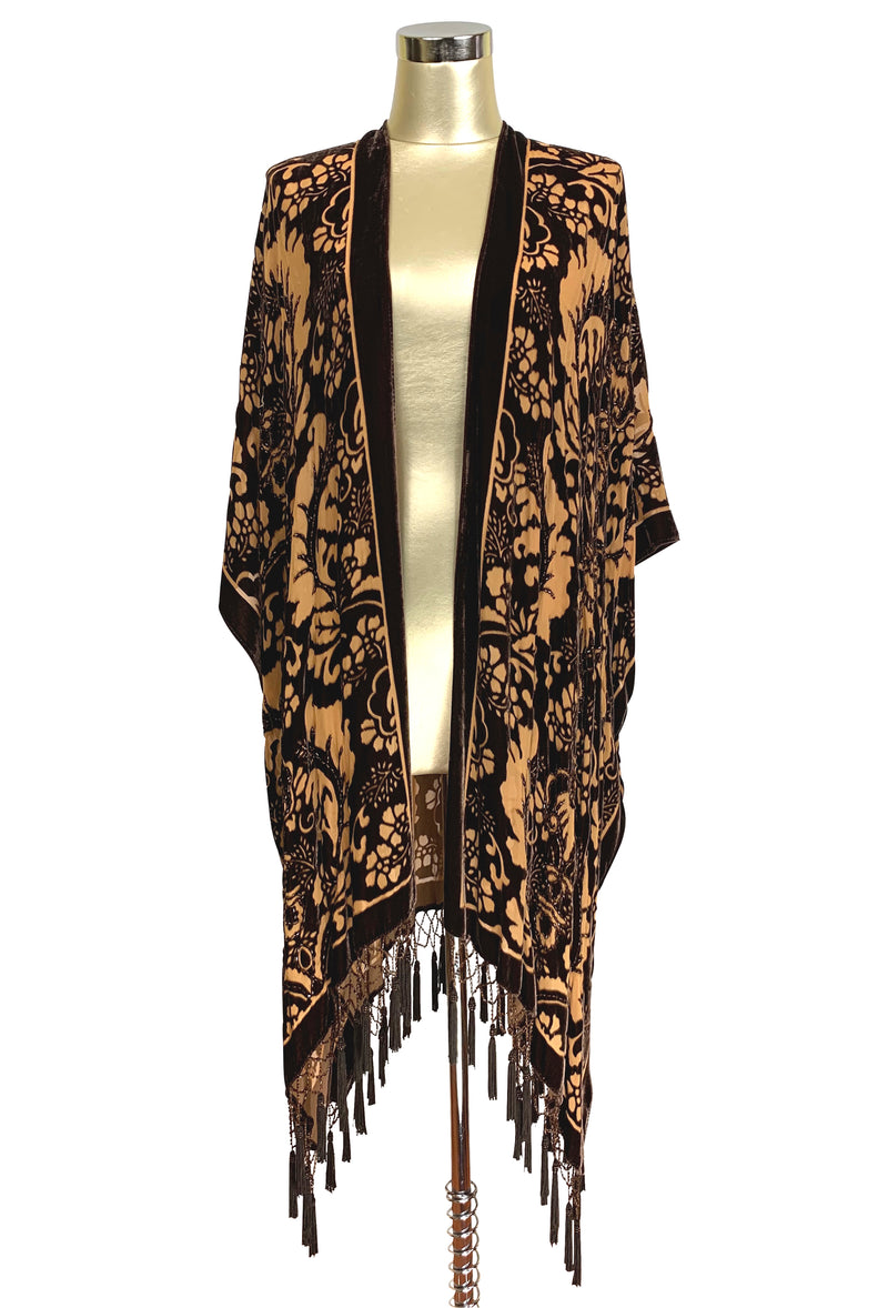 The Art Nouveau Floral Silk Velvet Burnout Beaded Evening Wrap - Coffee