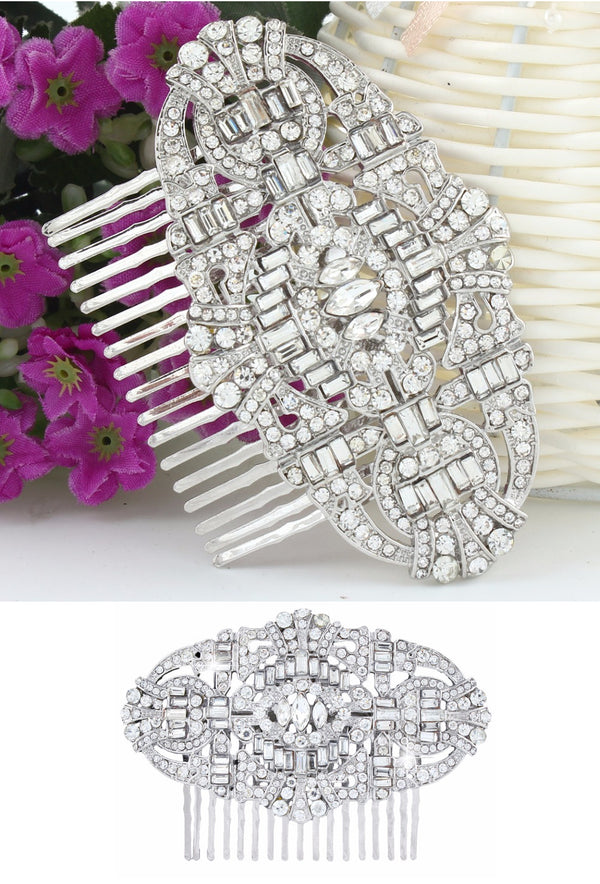The Bella Austrian Crystal Vintage Bridal Hair Comb - Silver - The Deco Haus