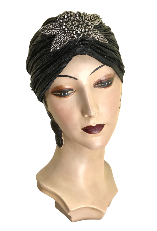 The Black Lamé 1920's Deco Beaded Appliqué Evening Turban - The Deco Haus