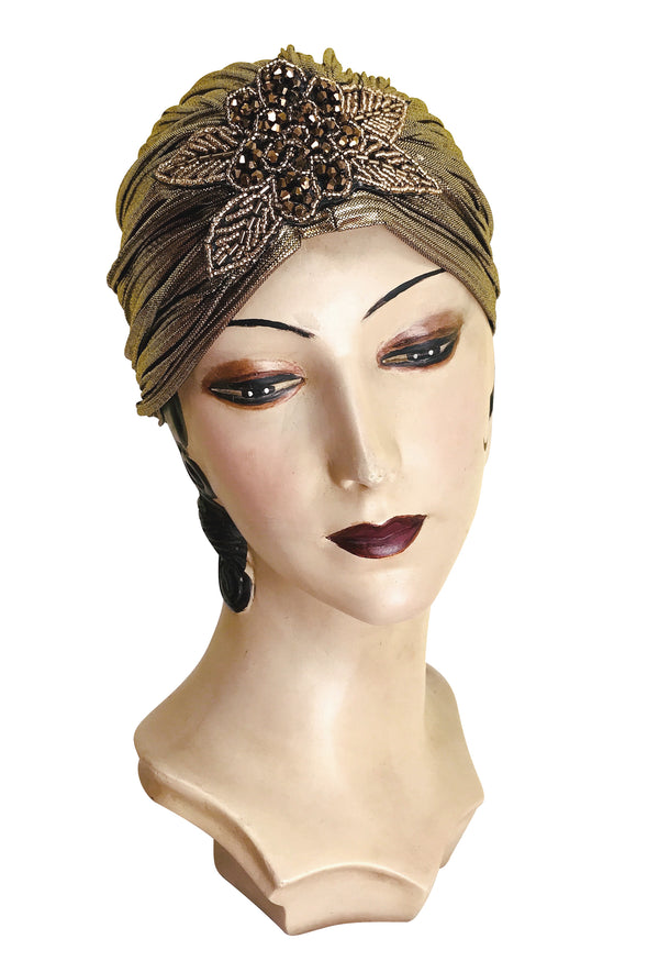 The Bronze Lamé 1920's Deco Beaded Appliqué Evening Turban - The Deco Haus