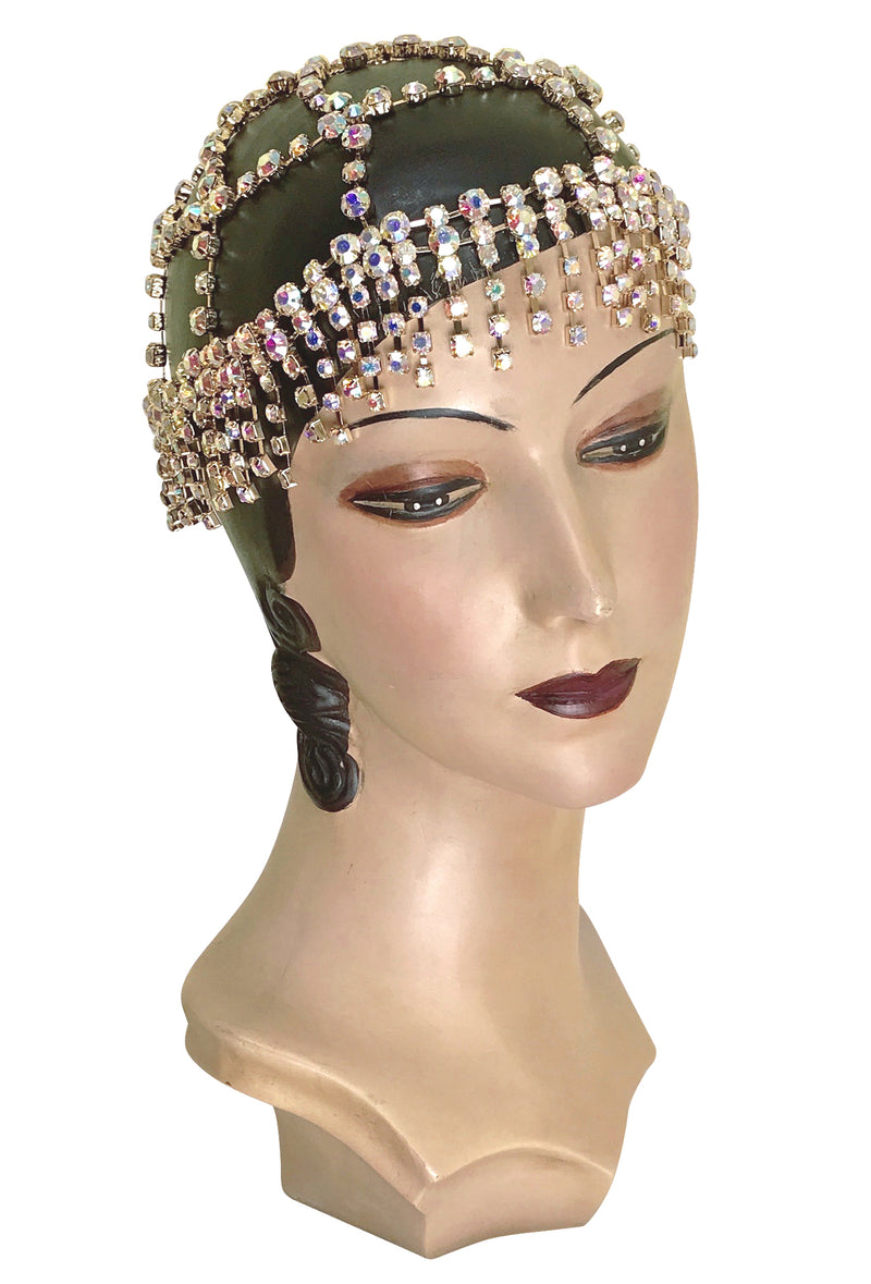 The Cabaret Flapper Fringe 20's Party Cap - Gold Iridescent - The Deco Haus