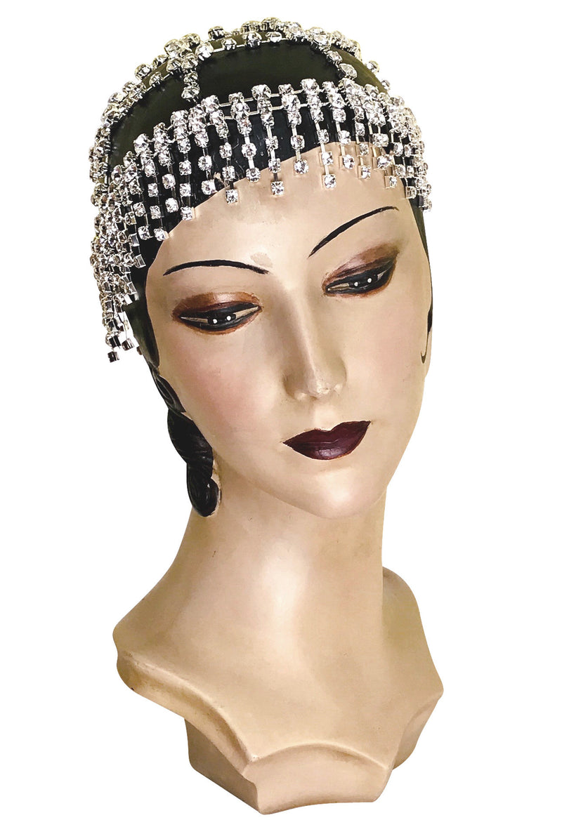 The Cabaret Flapper Fringe 20's Party Cap - Silver Diamante - The Deco Haus