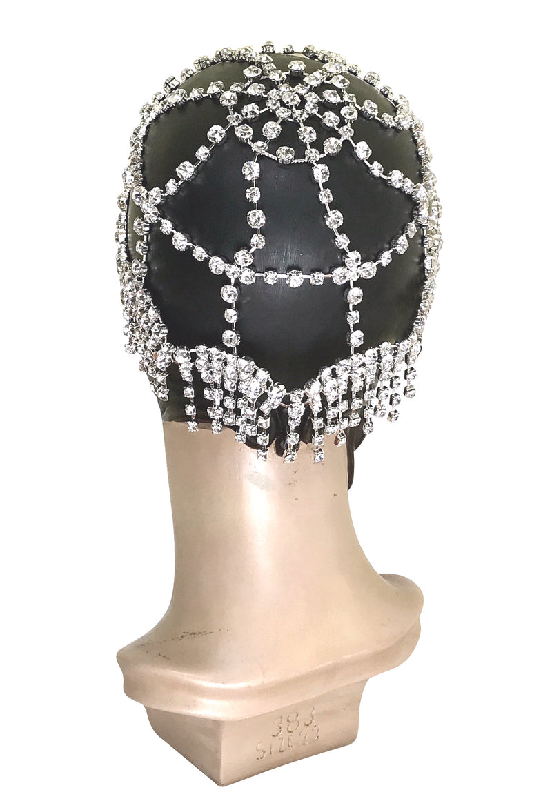 The Cabaret Flapper Fringe 20's Party Cap - Silver Diamante