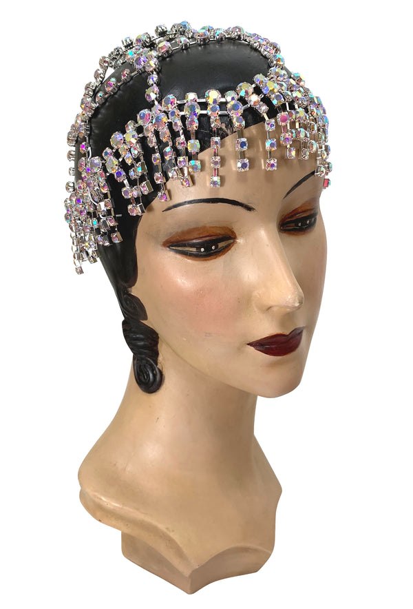The Cabaret Flapper Fringe 20's Party Cap - Silver Iridescent