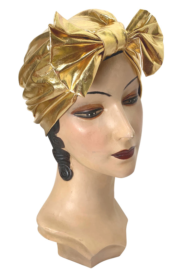 The Clara Bow 1920's Deco Evening Turban - Gold Lamé