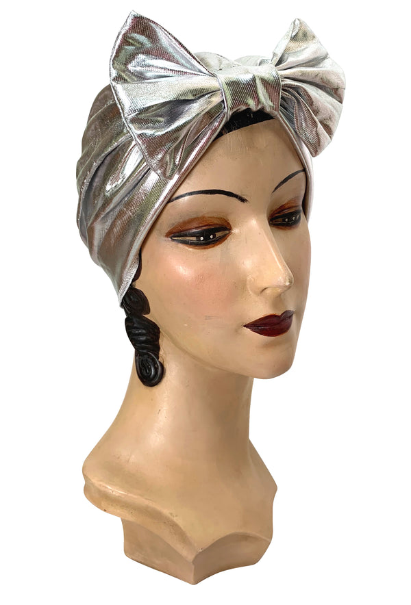 The Clara Bow 1920's Deco Evening Turban - Silver Lamé - The Deco Haus
