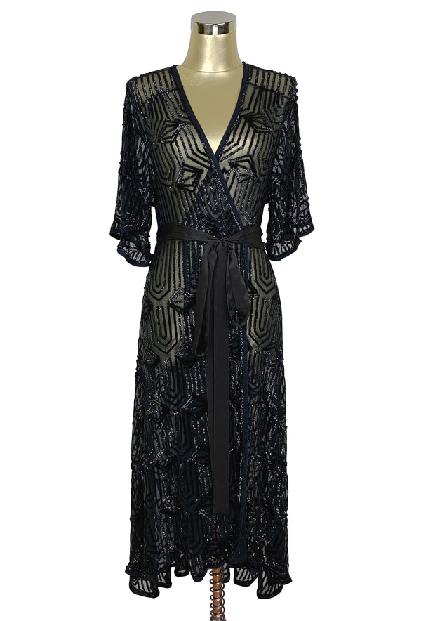 The Femme Fatale 1920s Glamour Vintage Wrap Dress - Kohl - The Deco Haus