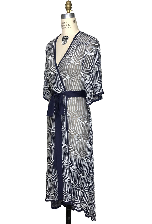 The Femme Fatale 1920s Glamour Vintage Wrap Dress - Midnight Blue Pearl - The Deco Haus
