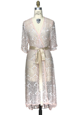 The Femme Fatale 1920s Glamour Vintage Wrap Dress - Peach Pearl