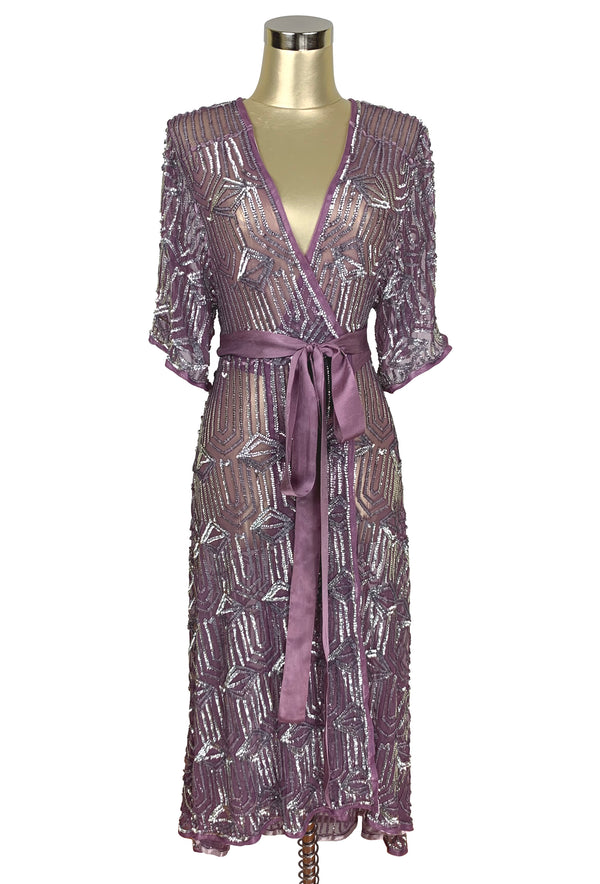The Femme Fatale 1920s Glamour Vintage Wrap Dress - Antique Plum Silver