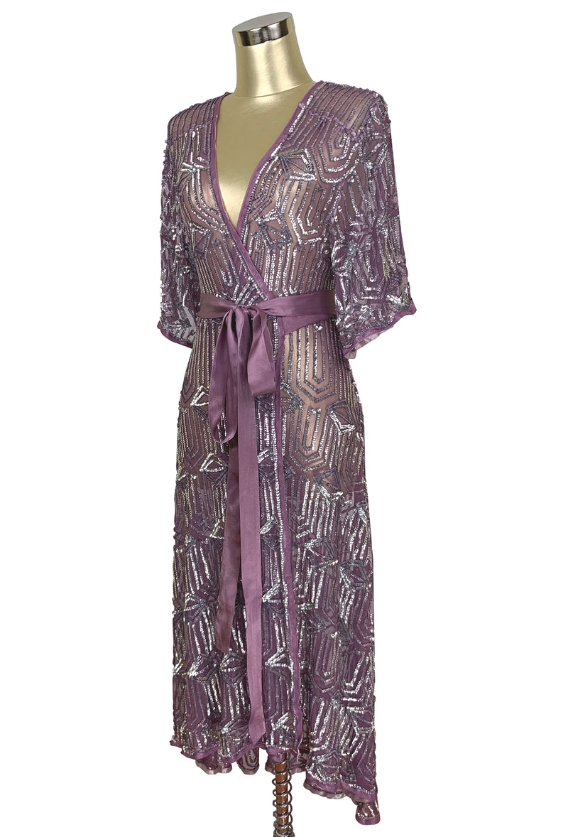 The Femme Fatale 1920s Glamour Vintage Wrap Dress - Antique Plum Silver - The Deco Haus