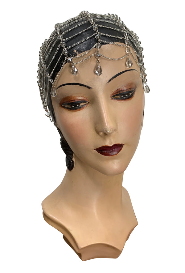 The Flapper Chain Crystal Teardrop 20's Party Cap - Silver