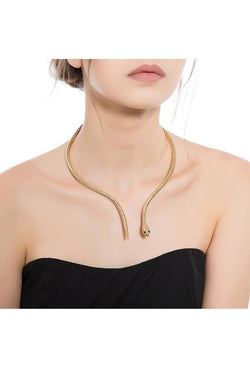 The Theda Bara Art Deco Egyptian Snake Necklace - Gold - The Deco Haus