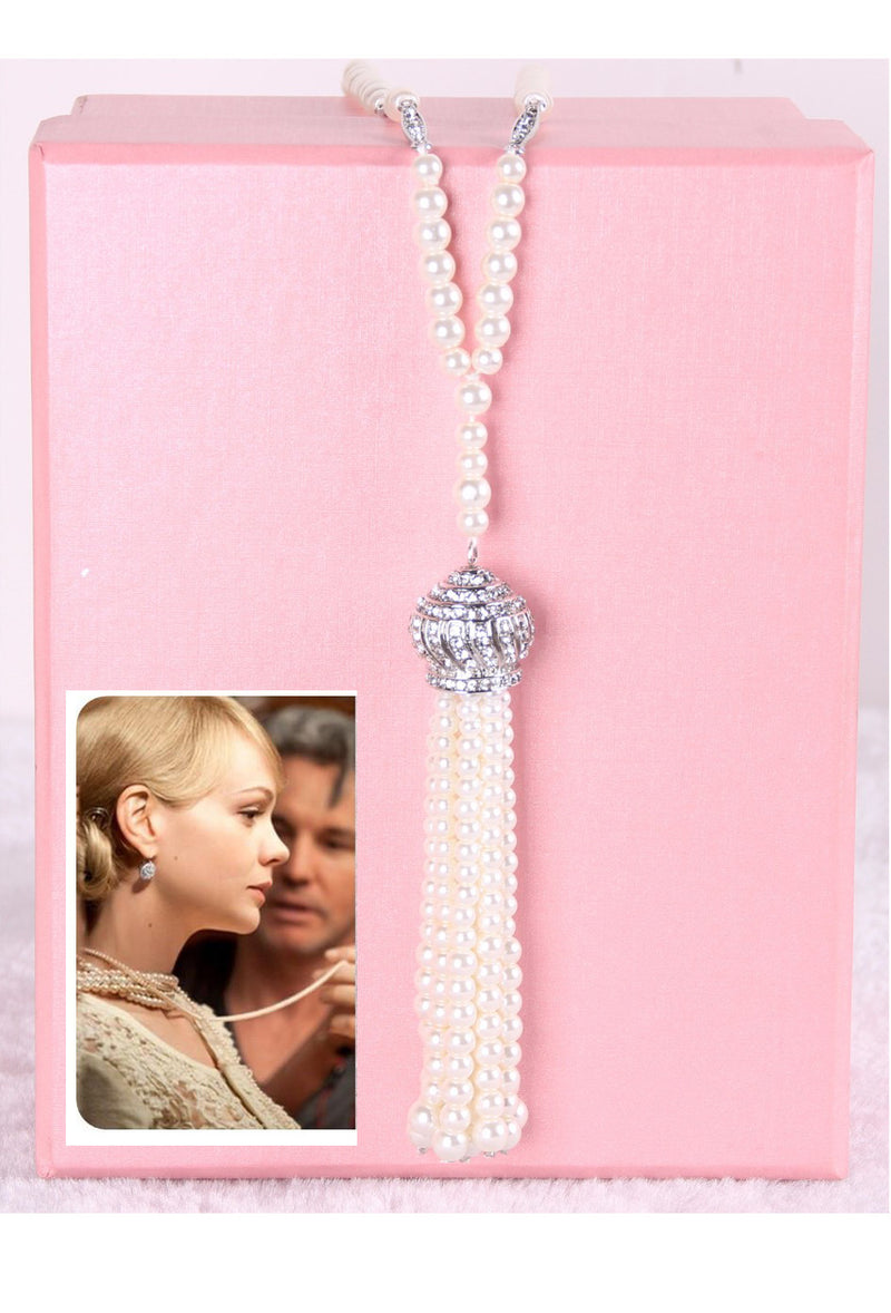 "The ""Great Gatsby"" Flapper Rhinestone Vintage 1920s Daisy Pearl Rope Necklace - The Deco Haus"