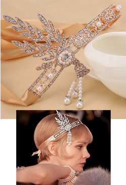 "The ""Great Gatsby"" Flapper Rhinestone Vintage 1920s Daisy Tiara - Rose Gold - The Deco Haus"