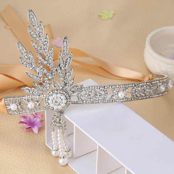 "The ""Great Gatsby"" Flapper Rhinestone Vintage 1920s Daisy Tiara - Silver - The Deco Haus"