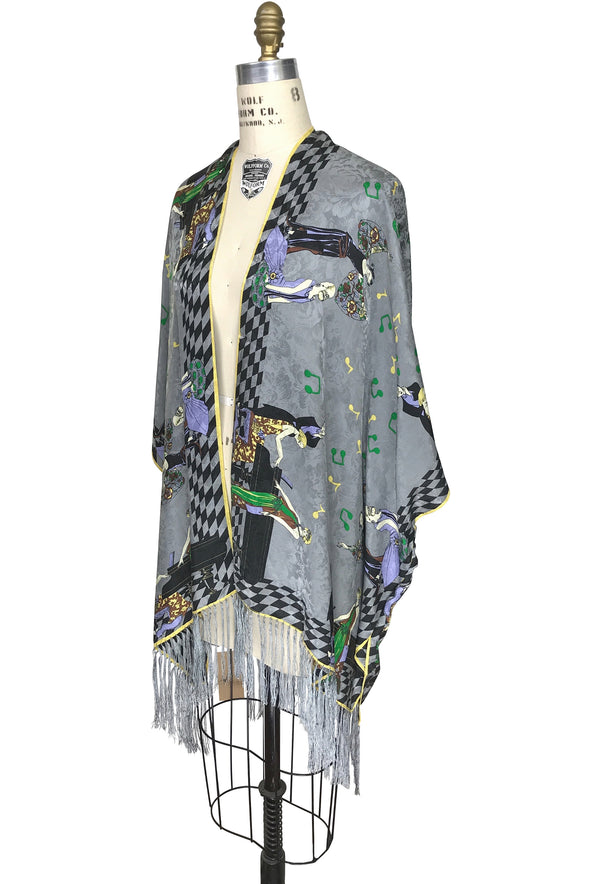 The Great Gatsby Party Jacquard Silk Fringe 20s Evening Wrap - Sterling Grey