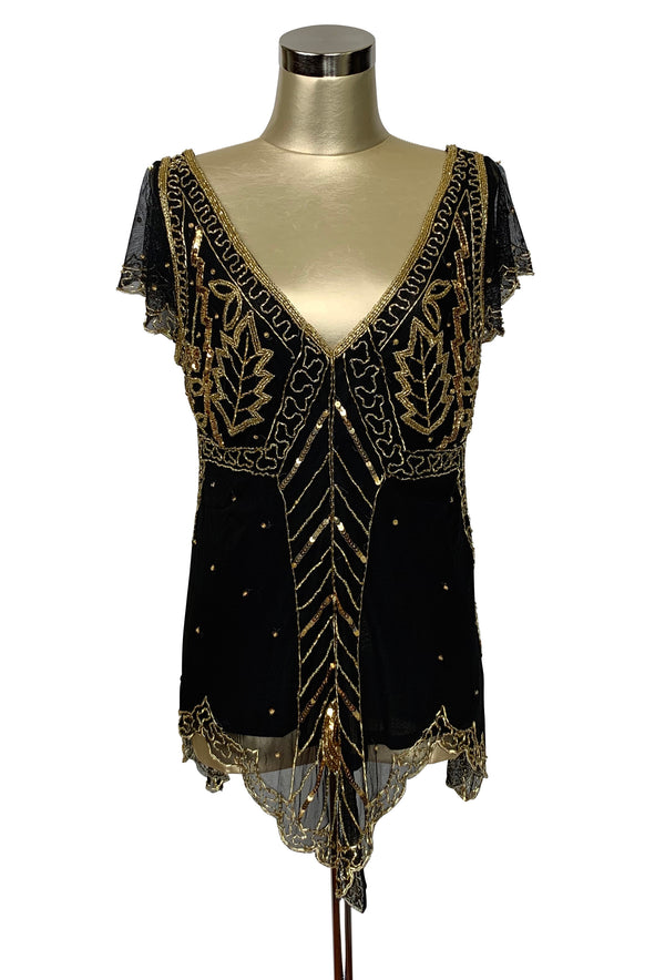 The Isadora Beaded Mesh Edwardian Handkerchief Top - Gold on Black