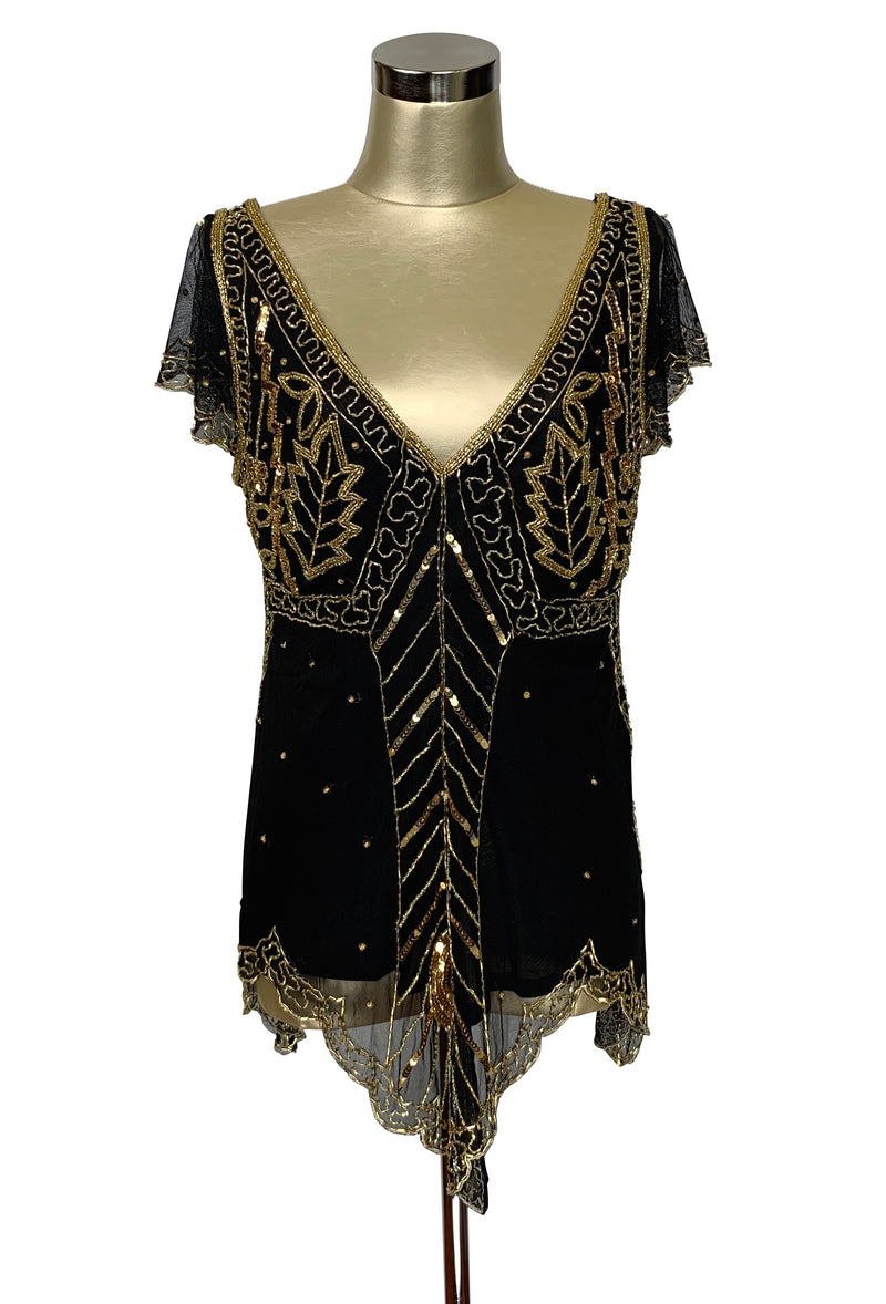 The Isadora Beaded Mesh Edwardian Handkerchief Top - Gold on Black - The Deco Haus